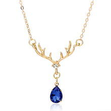 Rhinestone Pendany Necklace Elk Antlers Shape Enamel Design with Drop Crystal Choker Jewelry Fashion Party Deco Gifts for Women enamel bird shape with rhinestone on branches brooches
