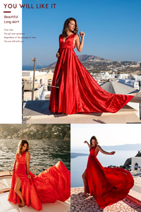 Image 5 - Sexy Red Evening Dresses V Neck Backless Satin Prom Dresses Long Elegant Evening Gown Robe De Soiree Christmas Party Dress Plus