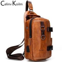 CAK nouveau multifonction bandoulière sac à bandoulière pour hommes Anti-vol en cuir sacs à bandoulière pour iPad mâle étanche voyage poitrine sac Pack