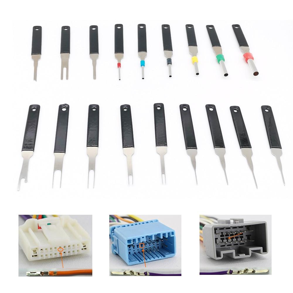 18pcs Wiring Crimp Connector Pin Extractor Car Terminal Removal Kit Bag Puller Terminal Repair Professional Handle Tools