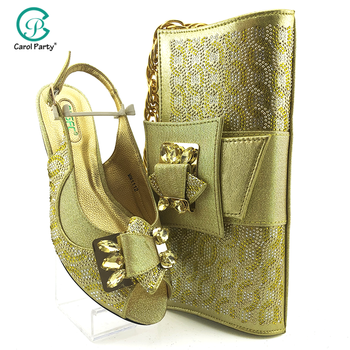 2020 Mature New Coming Cofortable Shoes And Bag To Match Set Italian design High Heels Party Shoes And Bag Set For Wedding