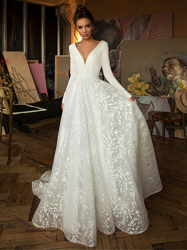 Booma Wedding-Dresses Bridal-Gowns V-Neck Satin Lace Long-Sleeve Boho Backless Custom-Made