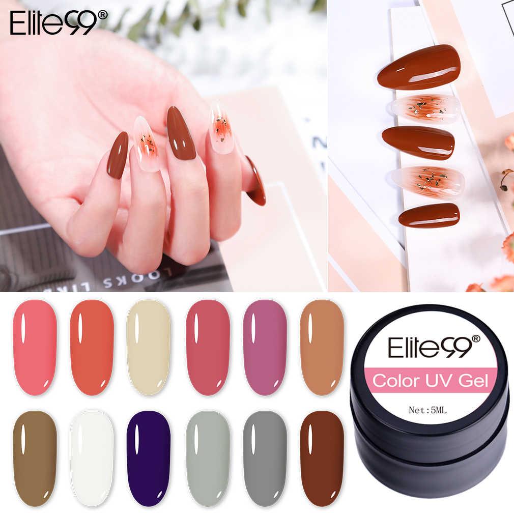 Elite99 cor gel pintura uv prego gel embeber fora da arte do prego lâmpada led laca 90 cores bling brilho pintura gel unha polonês 5 ml