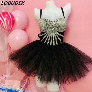 Silver Backless Bodysuit Black Mesh Long Cloak Mini Skirt Dance Outfit Women DJ Singer Sexy Stage Wear Party Nightclub Costume