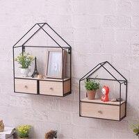 Wood Iron Decorative Wall Shelf Geometric Single Double Drawer Wall Hanging Storage Rack Organizer Living Room Bedroom