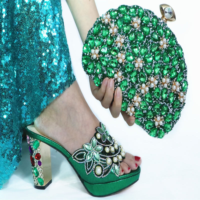 2020 High Quality Rhinestone Party Shoes And Purse Set African Style Woman Elegant High Heels Shoes And Bag For Party Dress