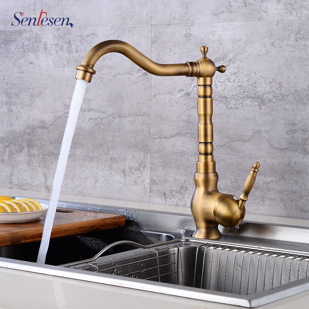 Senlesen Antique Br Kitchen Faucet