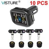 10 teile/los Visture TPMS Mit 10W USB Ausgang Auto Reifendruck Alarm System Reifen Überwachung Externe Interne Sensor T07W t07N