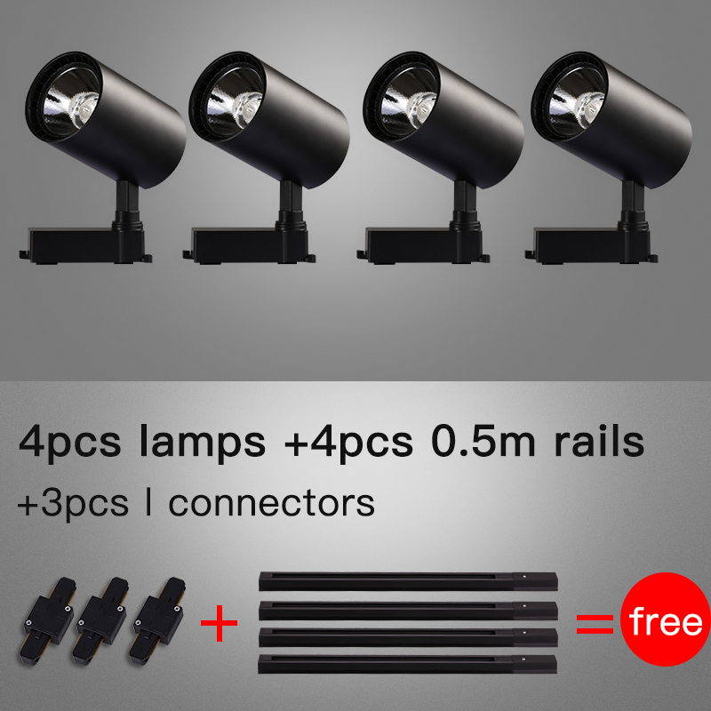 Whole Set Led Track Lights 12 20 30 40W COB Track Lamps for Clothing Store Rail Aluminum Track Lighting Fixture for Shop Home