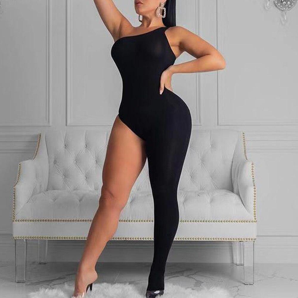 Missord 2019 Women Sexy Irregular Neck Off Shoulder Overalls Elegant One Leg Sepecial Jumpsuit  FT19838