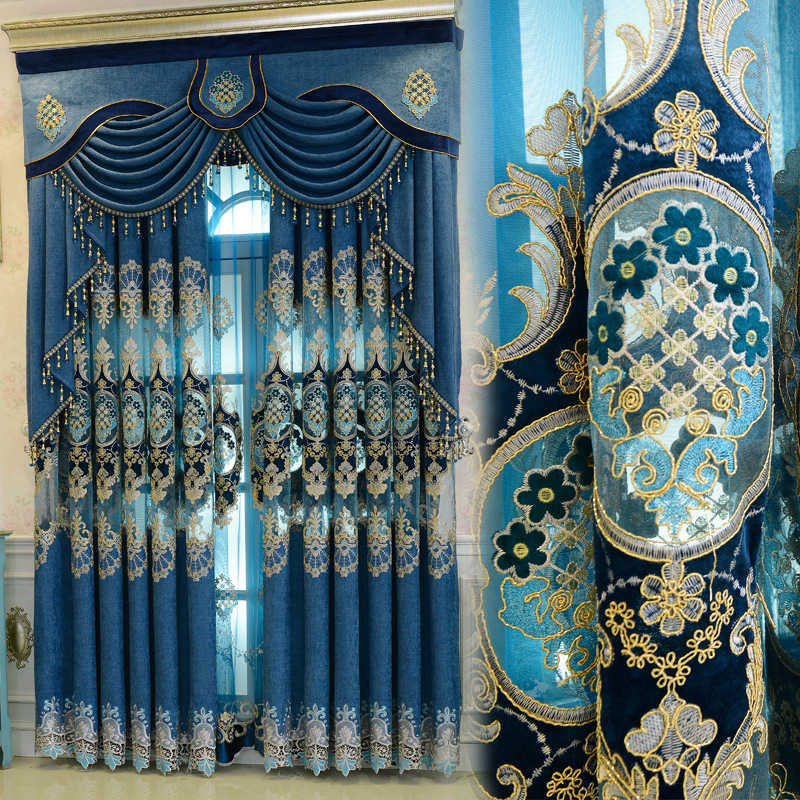 European Elegant Blue Curtains For Living Room Luxury Chenille Hollow Blind Drapes Window Panel Curtain Tulle For Bedroom M116#4