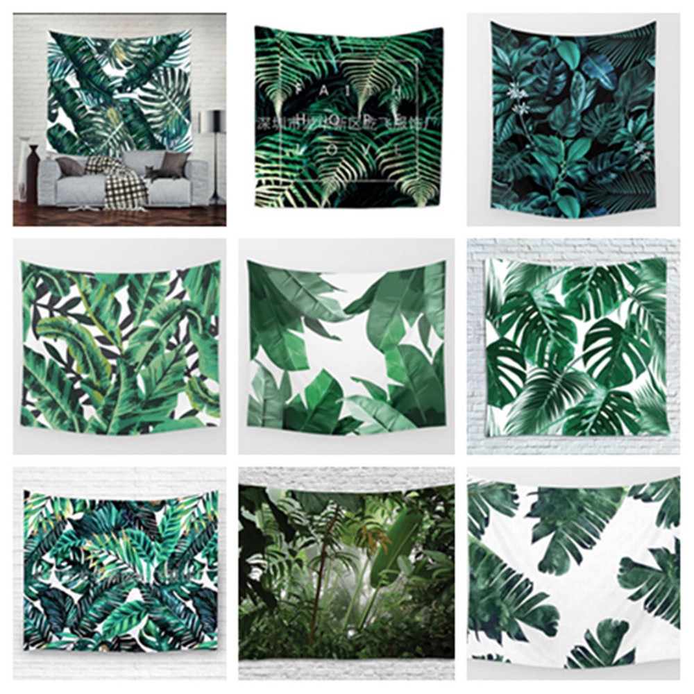 3D Green Leaves Tapestry Tropical Plant Wall Hanging Farmhouse Home Decor Tapestries Tablecloth Bedspread Tenture Carpet