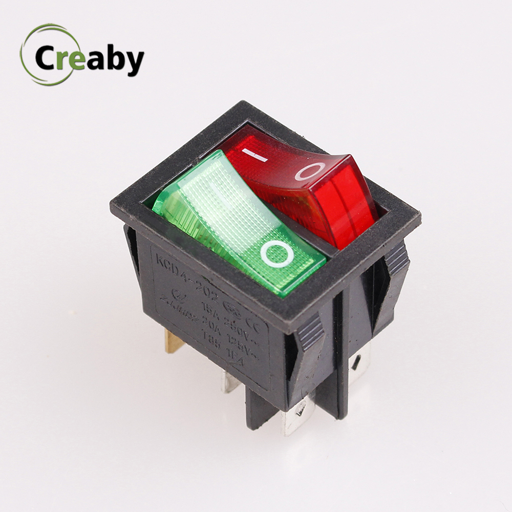 Objective New Kcd3 Double Rocker Switch 16a 250v 20a 125v 2 Position 6 Pin Boat Power Switch Electrical Equipment Switch With Led Light