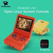 POWKIDDY v90 3 inç IPS ekran Flip el konsol çift açık sistem oyun konsolu 16 simülatörleri Retro PS1 çocuklar hediye 3D yeni oyun