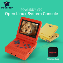 POWKIDDY v90 3-Inch IPS Screen Flip Handheld Console Dual Open System Game Console 16 Simulators Retro PS1 Kids Gift 3D New Game