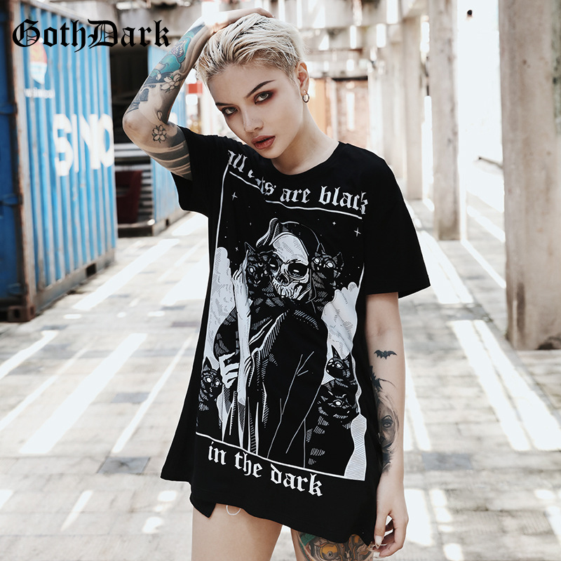 Goth Dark Letter Print Black Grunge Gothic T-shirt Women Harajuku Vintage Punk Autumn 2019 Fashion Female T-shirts Aesthetic