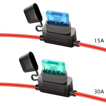 YUNPICAR ATC zatwierdzona organizacja szkolenia (ATO) 15A 30A w uchwyt bezpiecznika 16 Gauge kable w wiązce 12V standardowe gniazdo wtykowe opakowanie 1 tanie i dobre opinie