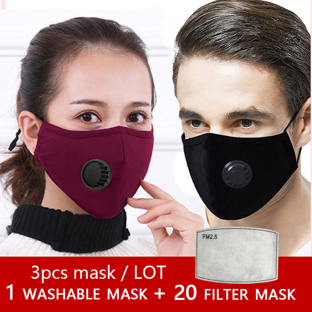 fashion washable mask cotton with breathing valve activated card plug in filter mask face mouth protection mask