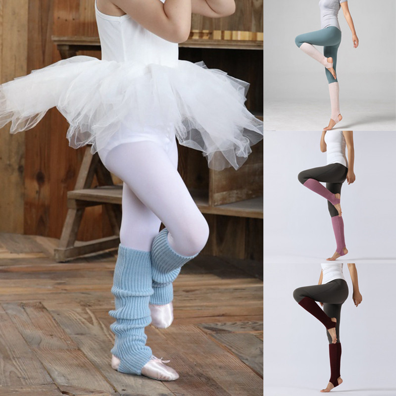 YELITE Autumn Winter Children Adult Latin Dance Leg Sets Knitted Sports Protective Wool Ballet Leg Warmers Foot Warm Socks