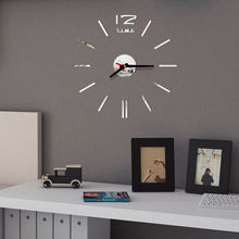 цена на Large Wall Clock Big Watch Decal 3D Stickers Roman Numerals DIY Wall Modern Home