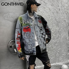 GONTHWID Graffiti Skull Print Sleeve Zippers Denim Jackets Streetwear Hip Hop Casual Punk Rock Jeans Jacket Coats Hipster Tops