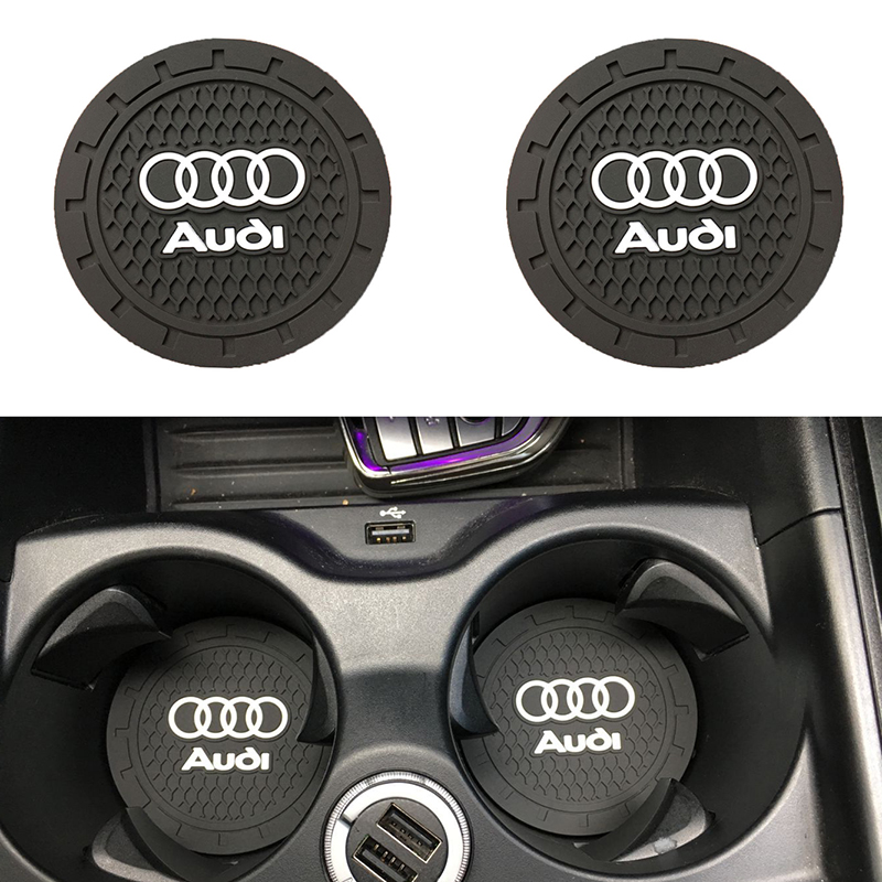 2pcs 7cm Silicone Car Non-slip Coaster Mat Case Water Coaster Pad Car Styling For Audi A3 A4 A5 A6 A7 A8 Q3 Q4 Q5 Q6 Q7 B8 B6