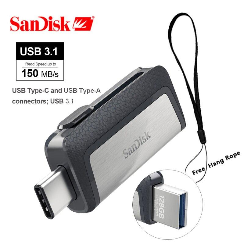 SanDisk SDDDC2 Dual Usb Otg Flash Pendrive 16gb 32GB 64GB 128G 256g De Memoria Extrema Tipo C Flashdrive 3,1 Memoria De Garfield