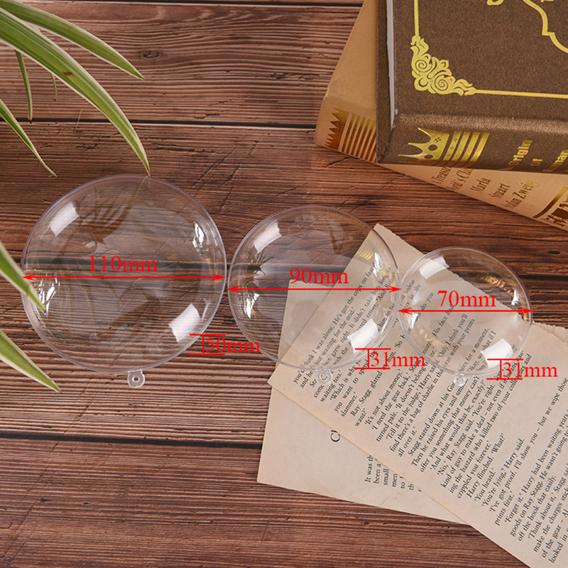 1/3Set Flat Round Clear 3D Bath Bomb Molds Crafting Mold Plastic Fillable Ball Ornament Christmas Ball DIY Home Bath Accessories