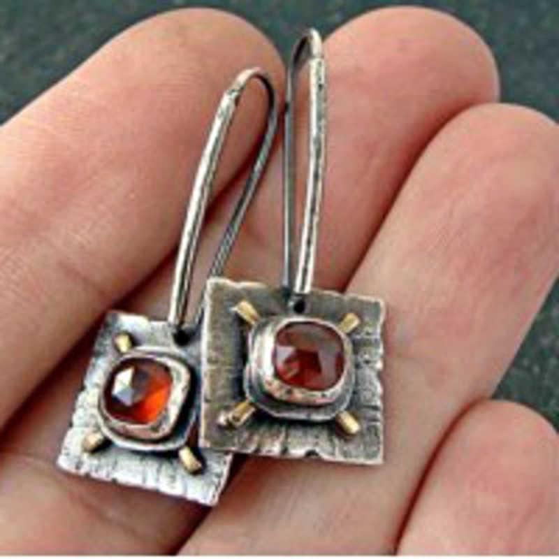 เรขาคณิตสีแดงหิน Vintage Pendientes เงินโบราณยาว Hook Dangle ต่างหูเครื่องประดับอินเดียผู้หญิงอุปกรณ์เสริม Z3D239