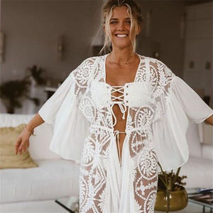 Image 3 - 2020 New Bikini Cover ups Sexy Belted Summer Dress White Lace Cotton Tunic Women Plus Size Beach Wear Swim Suit Cover Up Q1049