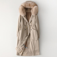 High Quality Winter Fox Fur Collar Hooded Parka Female Rabbit Fur Inner Fur Coat Khaki Long Thick Warm Real Fur Jackets Outwear