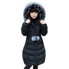 Новинка года; сезон осень-зима; теплая куртка с температурой минус 30 градусов Одежда для девочек пуховик Одежда для девочек парка с капюшоном и толстым мехом