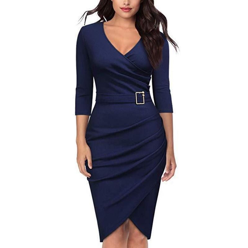 Movokaka Fashion Dress Women 2021 abiti eleganti da ufficio eleganti per donna abiti da festa blu abito da donna a vita alta con scollo a v da donna