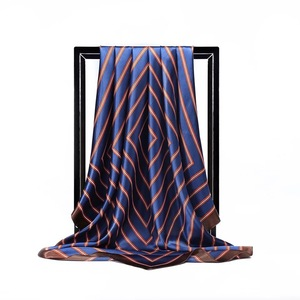 Image 3 - משי צעיף נשים הדפסת שיער צוואר כיכר צעיפי משרד גבירותיי צעיף בנדנה 90*90cm מוסלמי חיג אב מטפחת צעיף צעיף