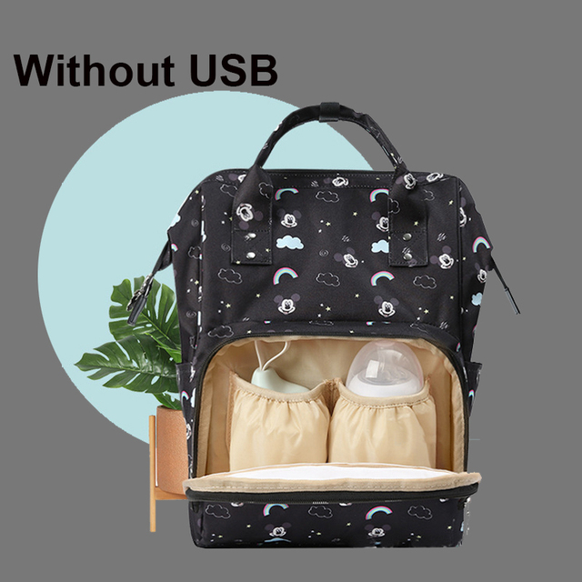 Disney Pre-design Multifunctional Baby Care Bag For Mom Fashion Double Shoulder Diaper Bag Nappy Backpack With Hooks Gray Black   Happy Baby Mama