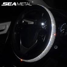 Accesorios del coche de cuero de la PU de cubiertas de volante de dirección de la rueda cubierta de cristal de tapa de palanca de cambios para mujeres niñas