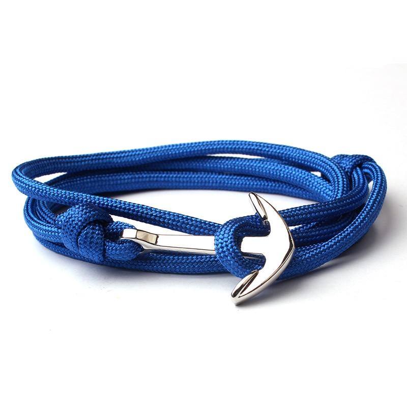 NIUYITID New Navy Blue Bracelet Men Friendship Anchor Bracelet Handmade Multi-layer Nylon Rope Chain Men And Women Jewelry