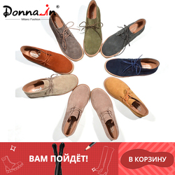 Donna-in Ankle Boots for Women Martin Boots Genuine Leather Shoes Flat Casual Booties Woman 2019 Autumn Lace up Plus Size Ladies