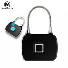 Microdata Fingerprint Lock Security Keyless Door Lock Fingerprint Smart Padlock Quick Unlock Portable Anti Theft