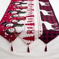 Weihnachten Geschenk Leinen Elch Schneemann Tisch Runner Frohe Weihnachten Dekor für Home 2022 Weihnachten Ornamente Neue Jahr der Decor 2021 navidad