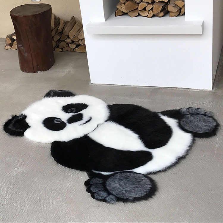 90*120cm 팬더 패턴 동물 인쇄 카펫 벨벳 모조 가죽 러그 모피 동물 모양 카펫 미끄럼 방지 매트 어린이 방 장식