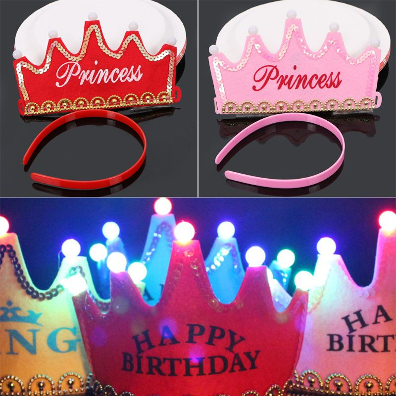 Baby Shower Princess Gold Crowns Foam Party Decorations It's A Girl Favors Glowing Crown Birthday Hat E65D