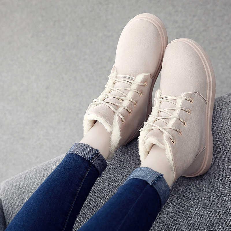 2019 yeni Retro kar botları kadın konfor yuvarlak ayak dantel Up ile sıcak kürk kışlık botlar peluş bej gri siyah düz topuk çizmeler ayakkabı