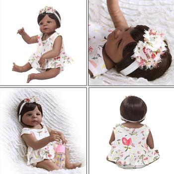 22'' Reborn Doll Realistic Silicone Vinyl Newborn Babies Toy Girl Princess Floral Clothes Pacifier Lifelike Handmade Gift