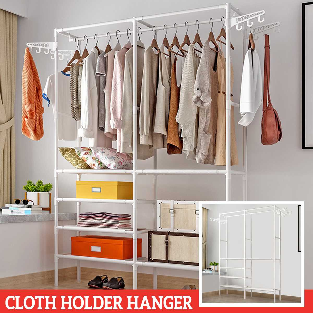 Simple Style Clothes Rack Floor Standing Clothes Hanging Colorful Storage Shelf Clothes Hanger Racks Couple Bedroom Furniture