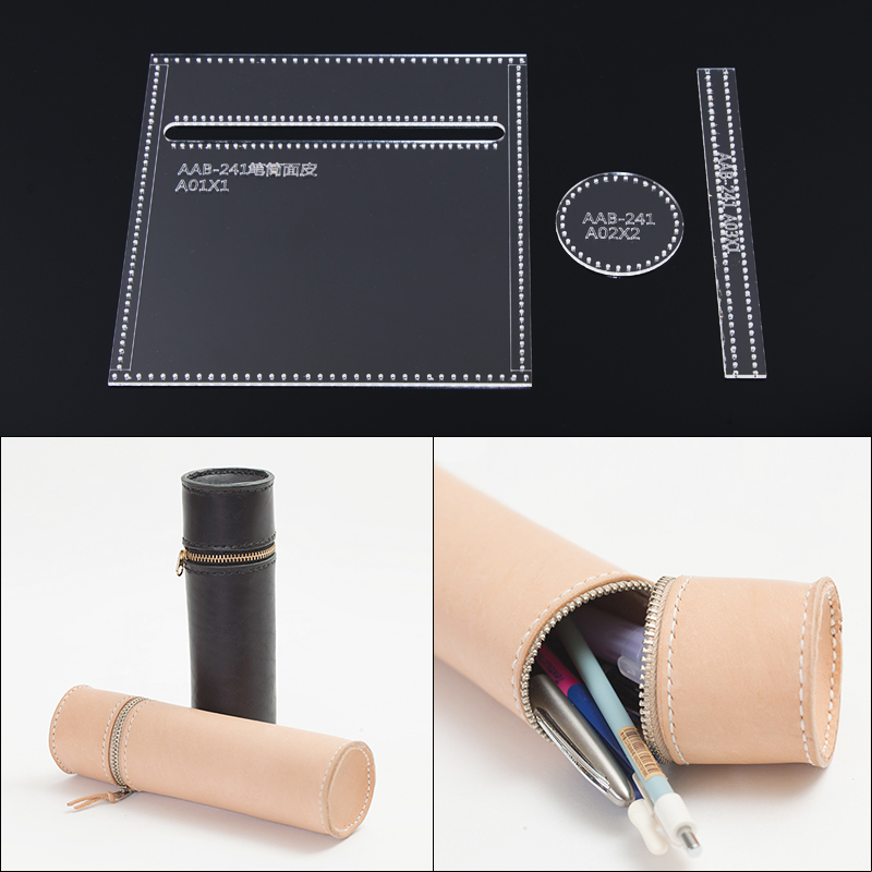 1Set DIY Acrylic Template New Student Pen Holder Zip Pen Holder Leather Craft Pattern DIY Stencil Sewing Pattern 18cm*5.5cm
