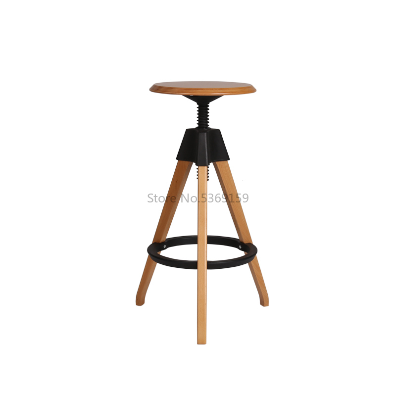 Simple European Solid Wood Round Rotary Lifting Creative Design High Stand Bar Chair Bar Chair Bar Bench Rotary Lifting Wood