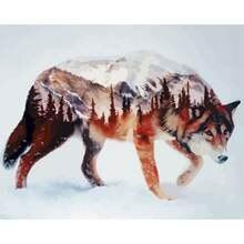 Gatyztory рамка волк diy Рисование по номерам каллиграфия акриловая