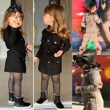 Лидер продаж, Новое Модное детское осеннее пальто для девочек с отворотами и Рогом, с длинными рукавами, детское повседневное пальто