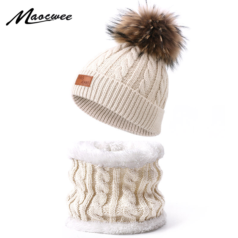 Hat Scarf Set With Real Fur Pompon Winter Children Solid Color Knitted Warm Beanies Outdoor Bonnet Hats Ring Scarf 2 Pieces Set